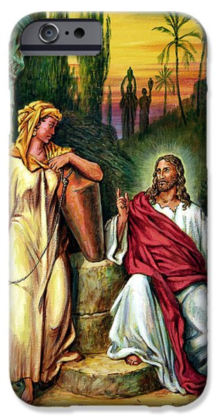Jesus iPhone Cases - Jesus and the Woman at the Well iPhone Case by John Lautermilch