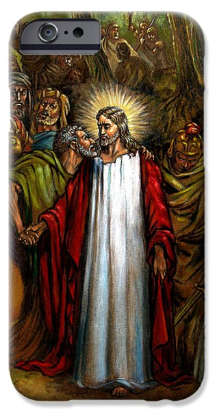 Jesus iPhone Cases - Jesus Betrayed iPhone Case by John Lautermilch