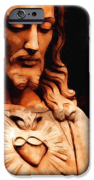 Jesus Drawings iPhone Cases - Jesus Christ iPhone Case by Arun Sivaprasad
