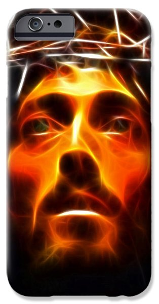 Jesus Face iPhone Cases - Jesus Christ The Savior iPhone Case by Pamela Johnson