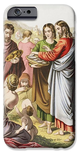 Miracle Drawings iPhone Cases - Jesus Feeding The Multitude. The iPhone Case by Ken Welsh