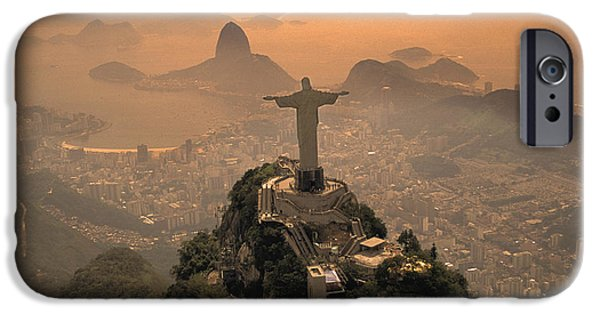 Statue iPhone Cases - Jesus in Rio iPhone Case by Christian Heeb