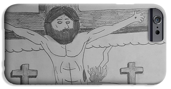 Jesus Drawings iPhone Cases - Jesus iPhone Case by Larry Lefler