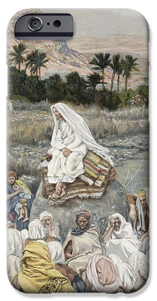 The Followers Paintings iPhone Cases - Jesus Preaching by the Seashore iPhone Case by Tissot