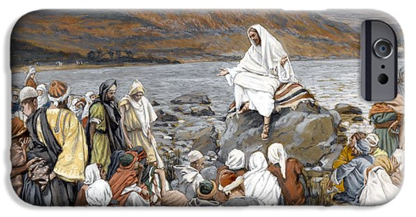 The Followers Paintings iPhone Cases - Jesus Preaching iPhone Case by Tissot