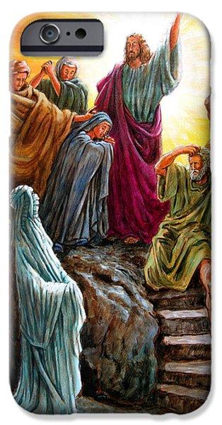 Bible iPhone Cases - Jesus Raises Lazarus iPhone Case by John Lautermilch