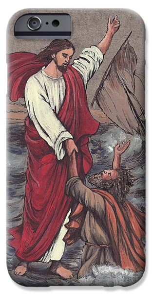 Religious Mixed Media iPhone Cases - Jesus Saves Peter iPhone Case by Morgan Fitzsimons