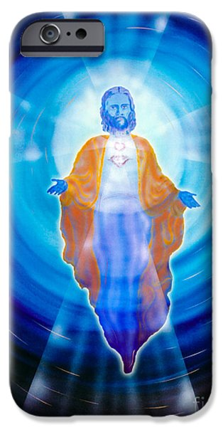 Business Paintings iPhone Cases - Jesus iPhone Case by Walter Zettl