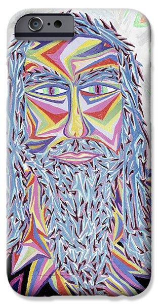 Spiritual Pastels iPhone Cases - Jesus Year 2000  Detail A iPhone Case by Robert  SORENSEN