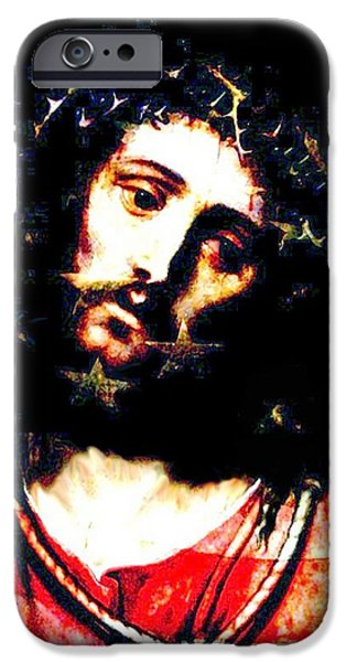 American Flag iPhone Cases - Jesuss Pain For America iPhone Case by Annie Zeno
