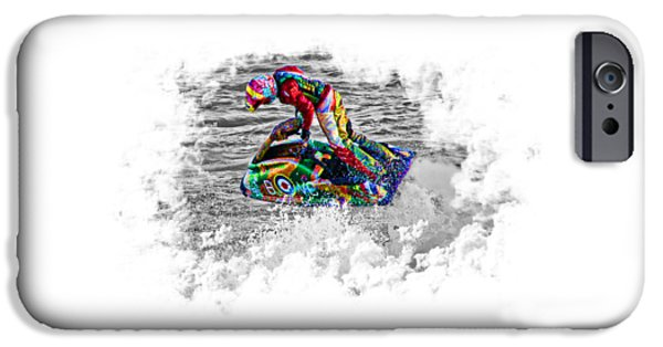 Board iPhone Cases - Jet Ski on Transparent background iPhone Case by Terri  Waters