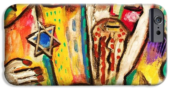 Invitations Paintings iPhone Cases - Jewish Celebrations Rejoicing In The Torah iPhone Case by Sandra Silberzweig
