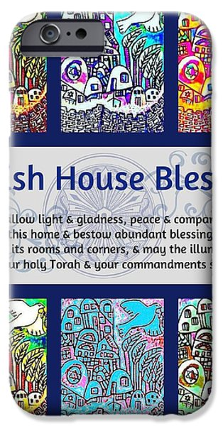 Recently Sold -  - Flower Of Life iPhone Cases - Jewish House Blessing City Of Jerusalem iPhone Case by Sandra Silberzweig