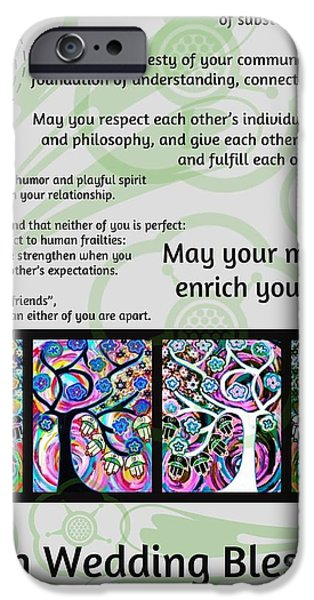 Invitations Paintings iPhone Cases - Jewish Seven Wedding Blessings Tree Of Life Hamsas iPhone Case by Sandra Silberzweig