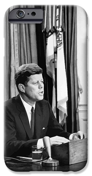 Democrat iPhone Cases - JFK Addresses The Nation  iPhone Case by War Is Hell Store