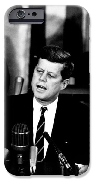 JFK Announces Moon Landing Mission iPhone Case by War Is Hell Store