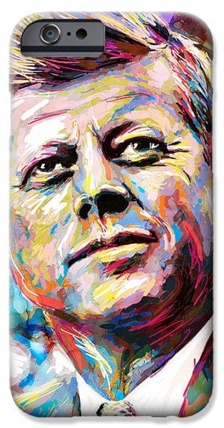 Abraham Lincoln Art iPhone Cases - JFK John F Kennedy Art iPhone Case by Ryan RockChromatic