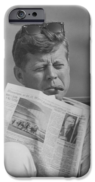 President Kennedy iPhone Cases - JFK Relaxing Outside iPhone Case by War Is Hell Store