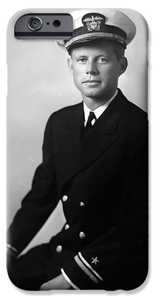 Democrat iPhone Cases - JFK Wearing His Navy Uniform  iPhone Case by War Is Hell Store