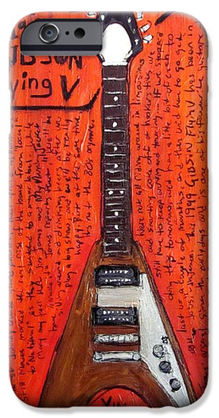 Woody Guthrie iPhone Cases - Jim James Gibson Flying V iPhone Case by Karl Haglund