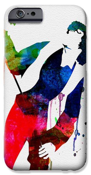 British Rock Star iPhone Cases - Jim Watercolor iPhone Case by Naxart Studio