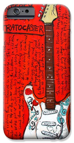 Fender Strat Paintings iPhone Cases - Jimi Hendrixs Monterey Strat iPhone Case by Karl Haglund