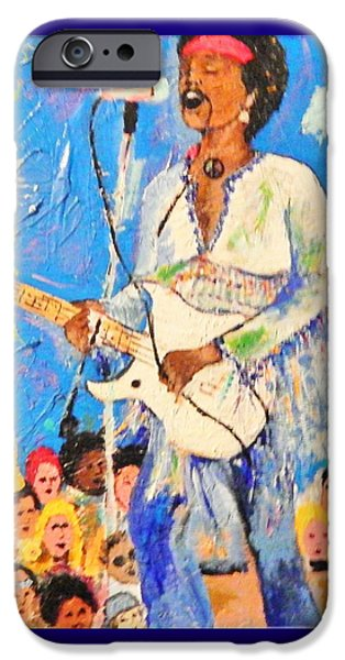 Star Spangled Banner Paintings iPhone Cases - Jimi Star Spangle Banner Woodstock on Wood iPhone Case by Marvin Pike