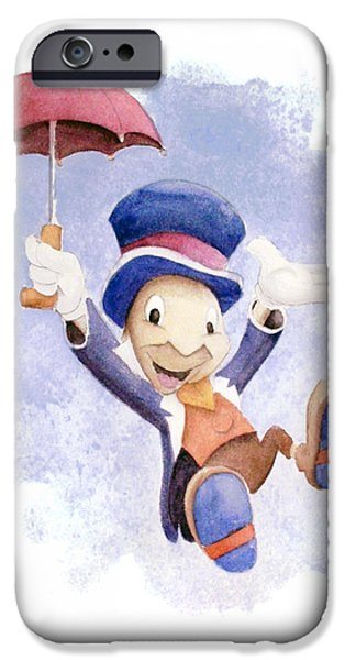Insects iPhone Cases - Jiminy Cricket with Umbrella iPhone Case by Andrew Fling