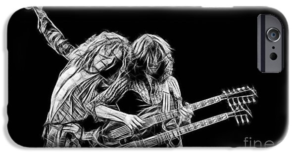 Jimmy Page iPhone Cases - Jimmy Page and Robert Plant Collection iPhone Case by Marvin Blaine