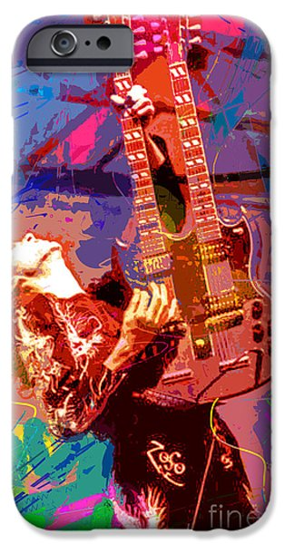 Featured Paintings iPhone Cases - Jimmy Page Stairway To Heaven iPhone Case by David Lloyd Glover
