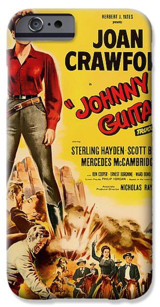 1950s Movies Mixed Media iPhone Cases - Joan Crawford in Johnny Guitar 1954 iPhone Case by Mountain Dreams