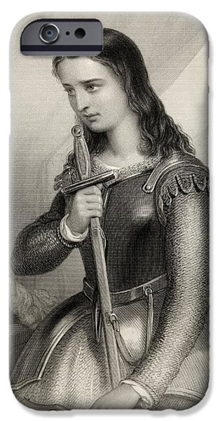 Religious Drawings iPhone Cases - Joan Of Arc, 1412-1431 Aka Jeanne D Arc iPhone Case by Ken Welsh
