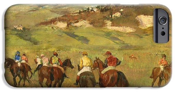 Horse Racing iPhone Cases - Jockeys on Horseback before Distant Hills iPhone Case by Edgar Degas