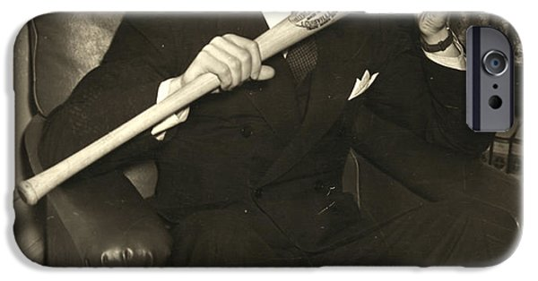 Bookcase iPhone Cases - Joe Dimaggio (1914-1999) iPhone Case by Granger