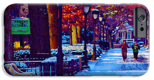 Jogging iPhone Cases - Jogging in the Snow Along Boathouse Row iPhone Case by Bill Cannon