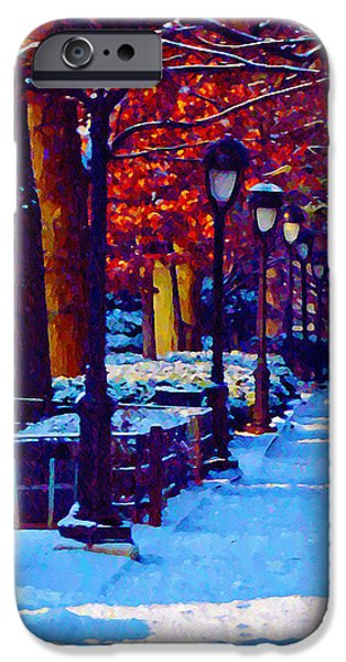 Jogging in the Snow Along Boathouse Row iPhone Case by Bill Cannon