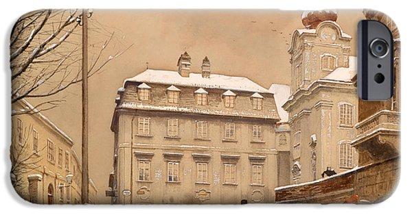 Snow-covered Landscape Paintings iPhone Cases - Johannes Chapel Corner iPhone Case by Franze Poledne Dobling