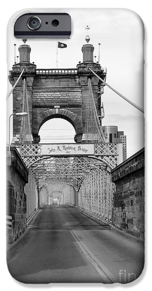 Covington iPhone Cases - John A Roebling Bridge iPhone Case by David Bearden