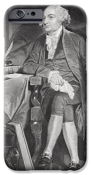 First Black President Drawings iPhone Cases - John Adams 1735-1826. First iPhone Case by Ken Welsh