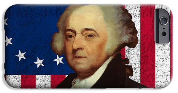 United iPhone Cases - John Adams and The American Flag iPhone Case by War Is Hell Store