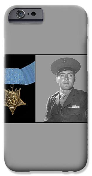 John Basilone and The Medal of Honor iPhone Case by War Is Hell Store