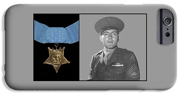 Honor iPhone Cases - John Basilone and The Medal of Honor iPhone Case by War Is Hell Store