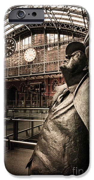 Nineteenth iPhone Cases - John Betjeman and Dent clockat St Pancras Railway Station iPhone Case by Peter Noyce