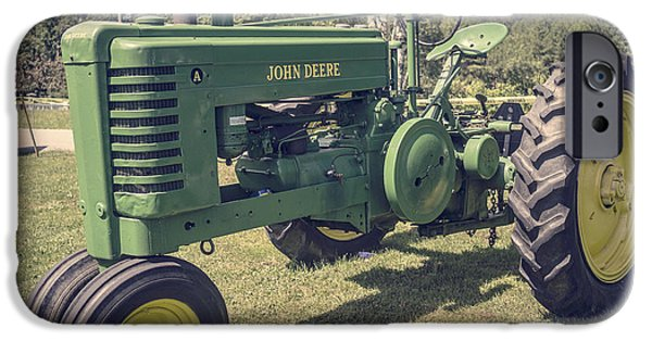 Agricultural iPhone Cases - John Deere Green Tractor Vintage Style iPhone Case by Edward Fielding