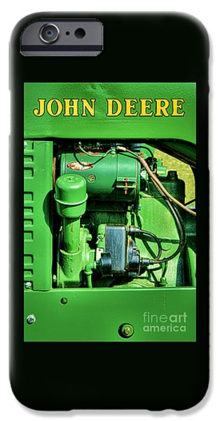 John Deere Tractor iPhone Cases - John Deere Tractor Engine Detail iPhone Case by Olivier Le Queinec