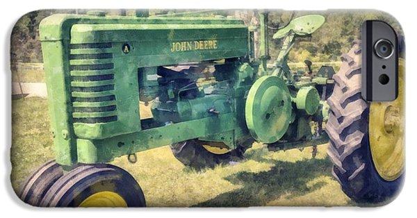 John Deere Tractor iPhone Cases - John Deere Vintage Tractor Watercolor iPhone Case by Edward Fielding