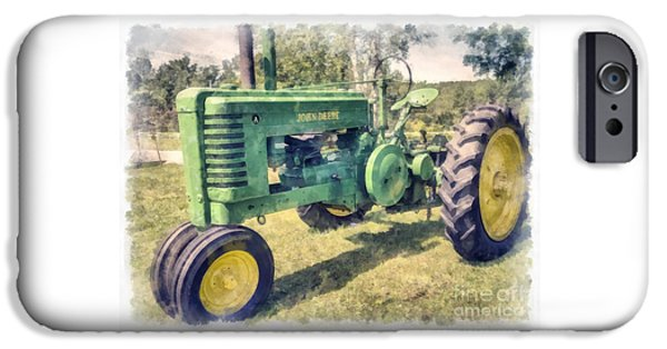 Tractors iPhone Cases - John Deere Vintage Tractor Watercolor iPhone Case by Edward Fielding