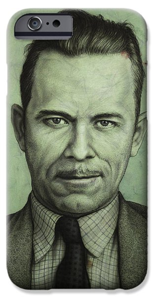 Vintage Drawings iPhone Cases - John Dillinger iPhone Case by James W Johnson