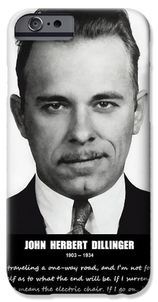 JOHN DILLINGER -- Public Enemy No. 1 iPhone Case by Daniel Hagerman
