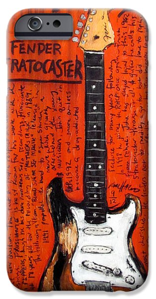 Fender Strat Paintings iPhone Cases - John Frusciante 1962 Stratocaster iPhone Case by Karl Haglund